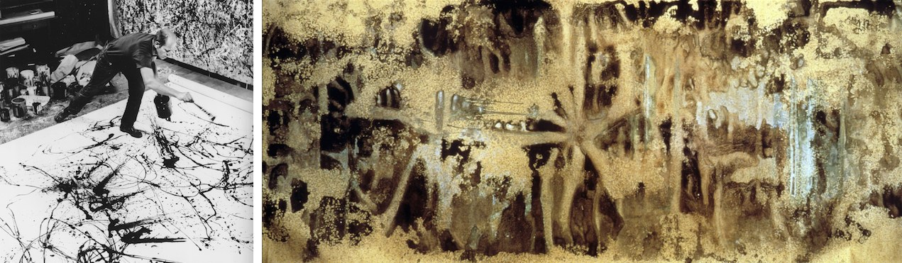 """Jackson Pollock nel 1950 mentre realizza una delle sue opere con la tecnica del """"dripping"""" - Andy Warhol, Oxidation Painting, 1978"""