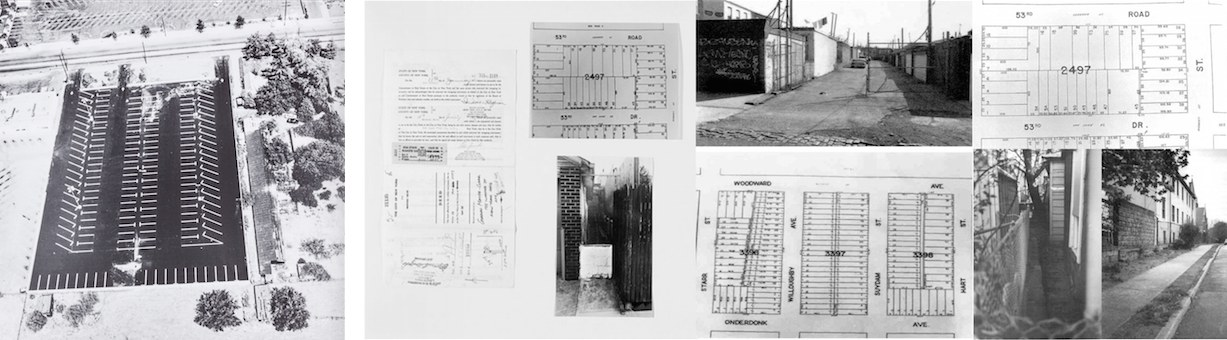 Edward Ruscha, da Thirtyfour Parking Lots, 1967 - Gordon Matta-Clark, da Reality Properties: Fake Estates, 1973