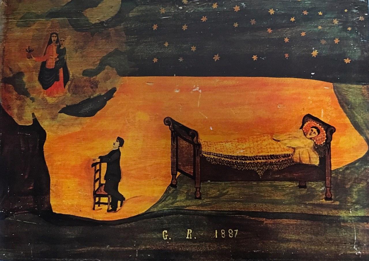 Ex-voto del 1887, olio su legno, cm. 42x31, proveniente dal santuario della Madonna del Pilone, Moretta (Cuneo)