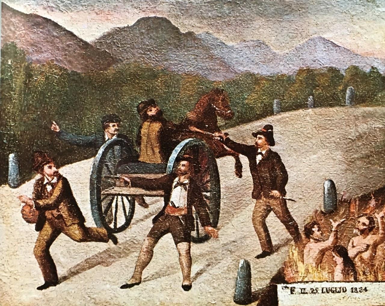 Ex-voto del 1884, olio su tela, cm. 44x36, provenienza ignota