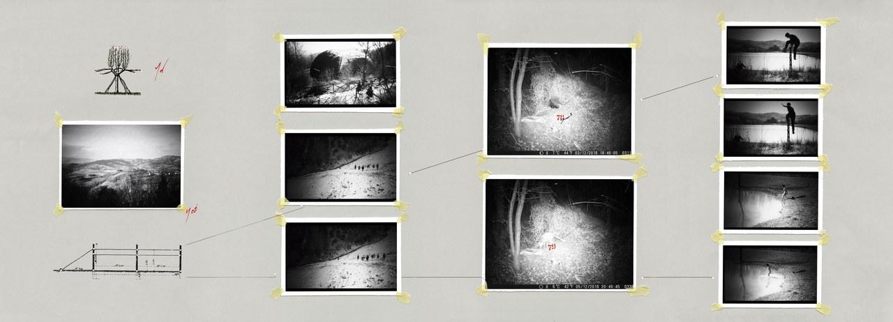 Seconda tavola di Cesare Ronconi tratta da Tavole dei Giuramenti, realizzata a partire dai fermo-immagini da Gli indocili di Ana Shametaj e dagli scatti di Michele Bruzzi. © Teatro Valdoca