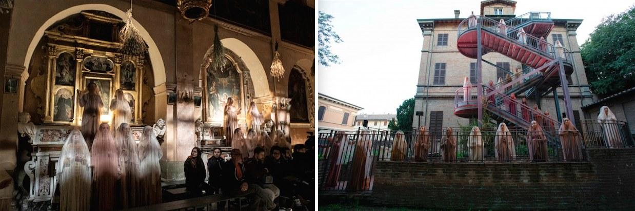 A sinistra: a Matera, le donne morte di morte violenta | A destra: lo stesso coro nella versione ravennate (foto di M. Caselli Nirmal e di S. Lelli)