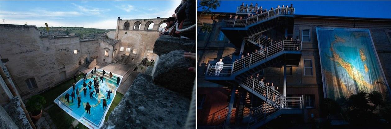 A sinistra: a Matera, visti dall'alto, gli iracondi calpestano la cartina dell'Italia | A destra: lo stesso coro nella versione ravennate e la cartina appesa al contrario (foto di M. Caselli Nirmal e di S. Lelli)