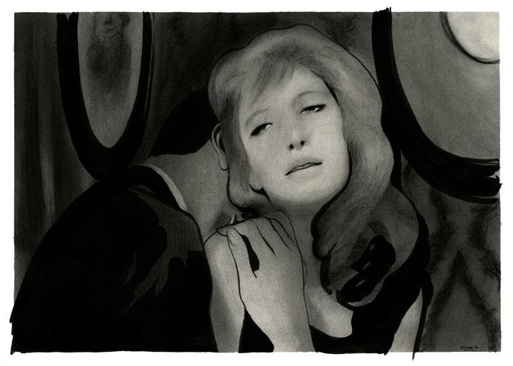 Monica Vitti in una scena de L'eclisse rappresentata da Manuele Fior, © Manuele Fior