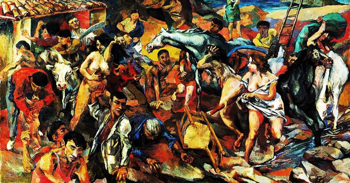Renato Guttuso, Fuga dall'Etna, olio su tela, 1940
