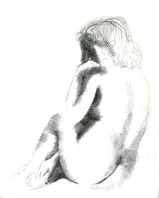 Emilio Greco, Nudo di schiena, disegno a china, 1985