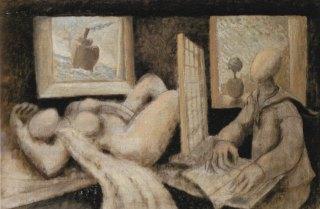 Gaetano Tranchino, Il signor Dürer e la sua modella, olio su tela, 1983