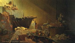 """Fabrizio Clerici, Sonno romano, olio su tela, 1955 Courtesy """"Archivio Fabrizio Clerici"""""""