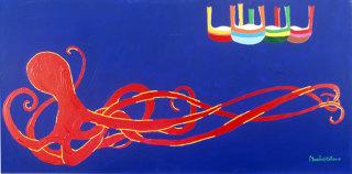 Maurilio Catalano, Barche e polpi, acrilico su tela, 1992