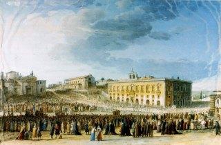 Jean Hoüel, La procession de la fête de Sainte Agathe, gouasche, 1780