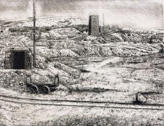 Domenico Faro, La zolfara abbandonata, acquaforte, 1981