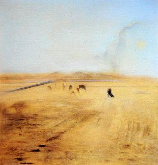 Piero Guccione, Grande pascolo d'agosto, tecnica mista, 1983