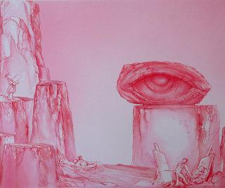 """Fabrizio Clerici, L'occhio, tempera su carta, 1985  Courtesy """"Archivio Fabrizio Clerici"""""""