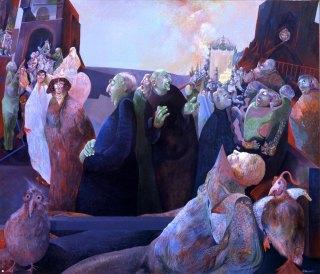 Antonio Calascibetta, Processioni e processi, acrilico su tavola, 1975
