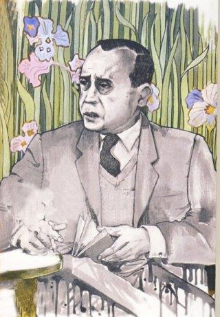 Bruno Caruso, Ritratto di Leonardo Sciascia a Villa Igea, disegno acquerellato, 1971