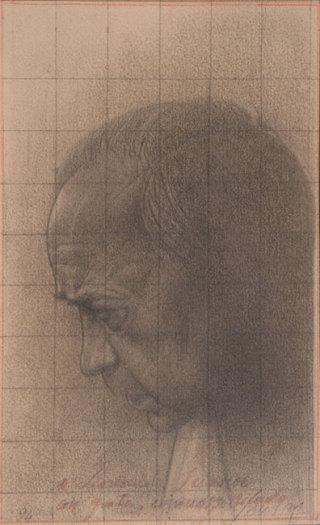 Piero Guccione, A Leonardo Sciascia, grafite, 1994