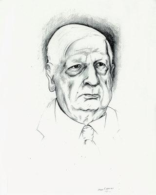 Bruno Caruso, Ritratto di Giorgio De Chirico, disegno a matita, 1973