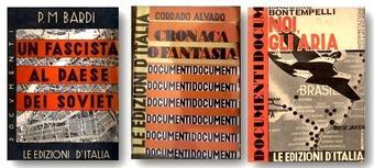 Fotomontaggio della collana Documenti (1932-1935), Le Edizioni d'Italia, di Noi gli Aria. Interpretazioni sudamericane di Massimo Bontempelli (1931), di Cronaca o fantasia di Corrado Alvaro, Roma, Le edizioni d'Italia, «Documenti », 1934