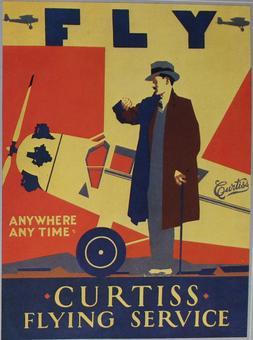 Pubblicità per la compagnia aerea americana Curtiss Curtiss Flying Service, fine anni Venti, in Olivier E.A.,Les routes aériennes, La conquête du ciel, edition time‐life, Amsterdam, 1981