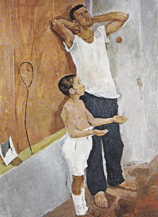 Fausto Pirandello, Padre e figlio, olio su tavola, 1934