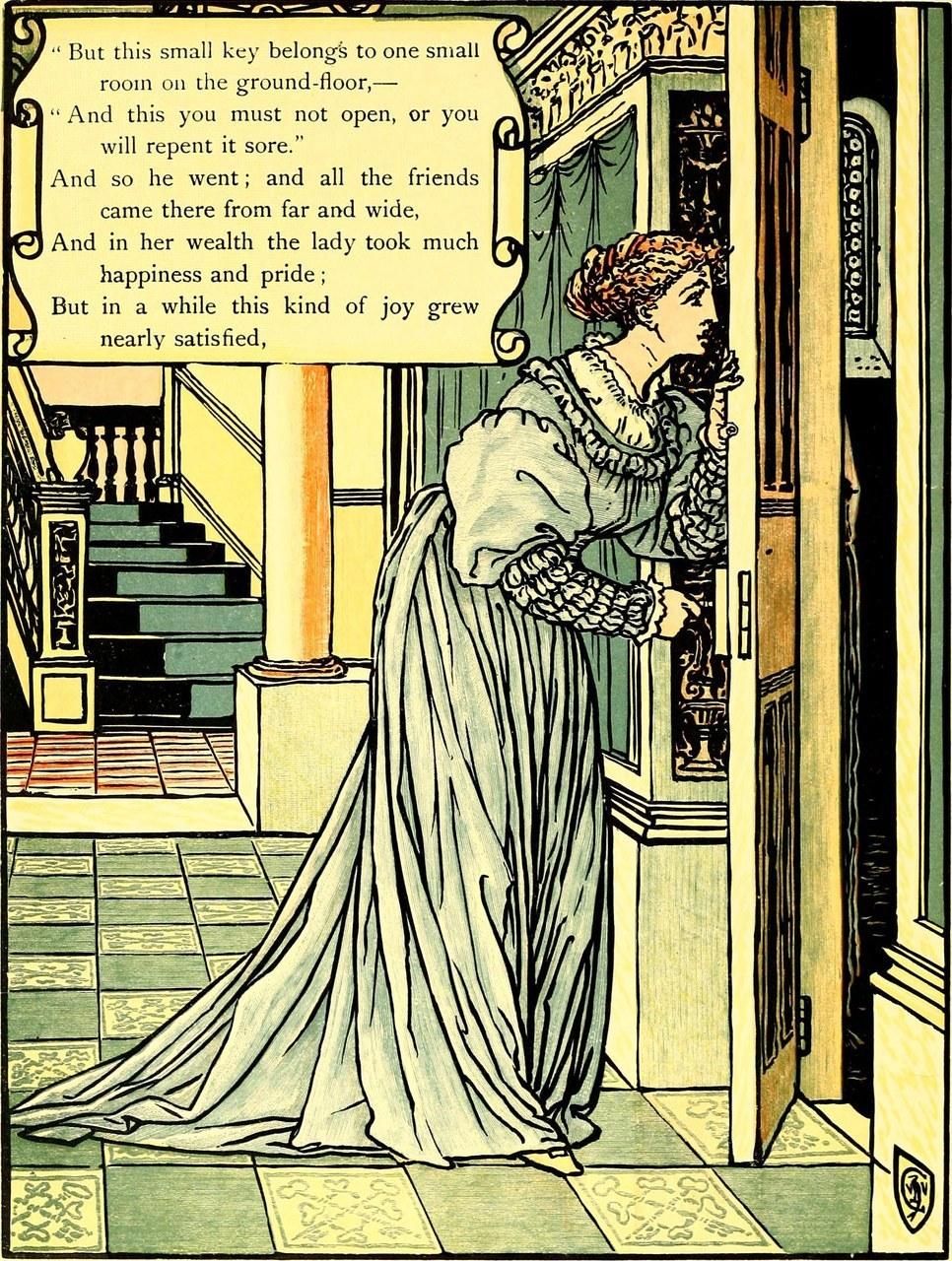 Fig. 1 Walter Crane, Bluebeard's picturebook, 1899, (Wikimedia Commons).