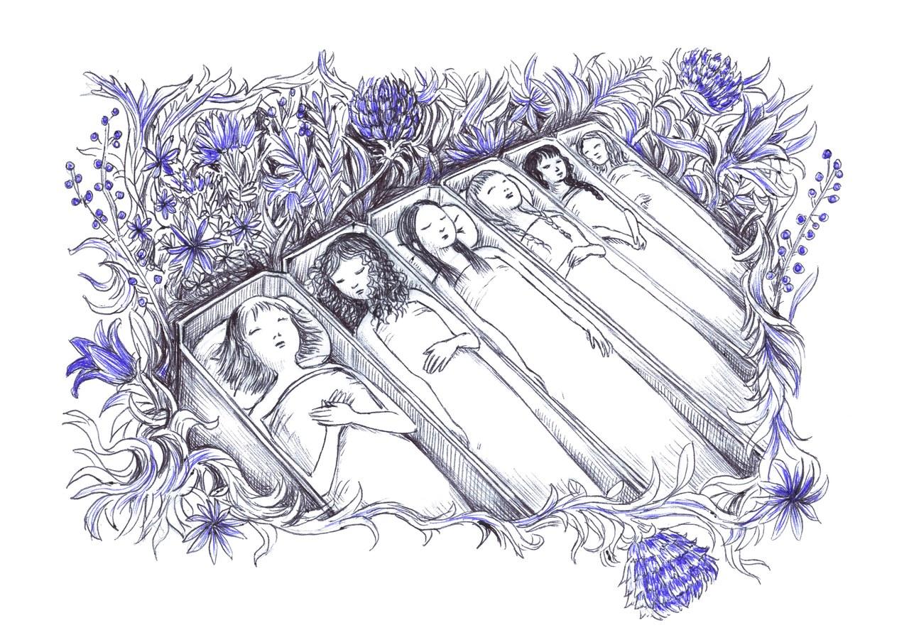 Fig. 5 Masini, Blu. Un'altra storia di Barbablu, 2017, pp. 72-73 © Virginia Mori, Pelledoca editore.