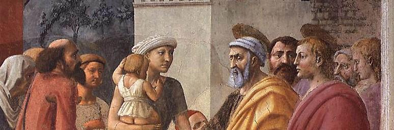 Masaccio, Distribuzione delle elemosine e morte di Anania, particolare, 1424-1428, Chiesa di Santa Maria del Carmine, Firenze