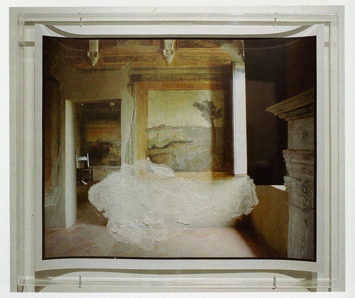 Franco Guerzoni, Dentro l'immagine, 2004, cristalli di salnitro su fotografia di Luigi Ghirri del 1985, collezione privata, Modena
