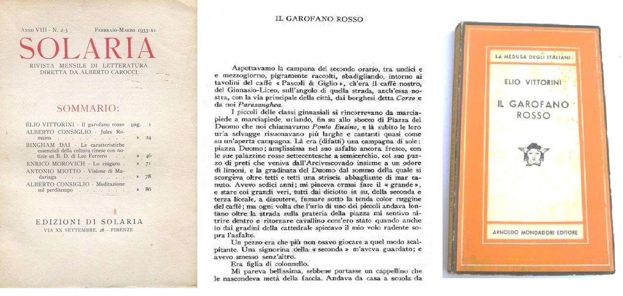 Fig. 1 Il garofano rosso dalla rivista Solaria (1933-1936) all'edizione Mondadori (1948)