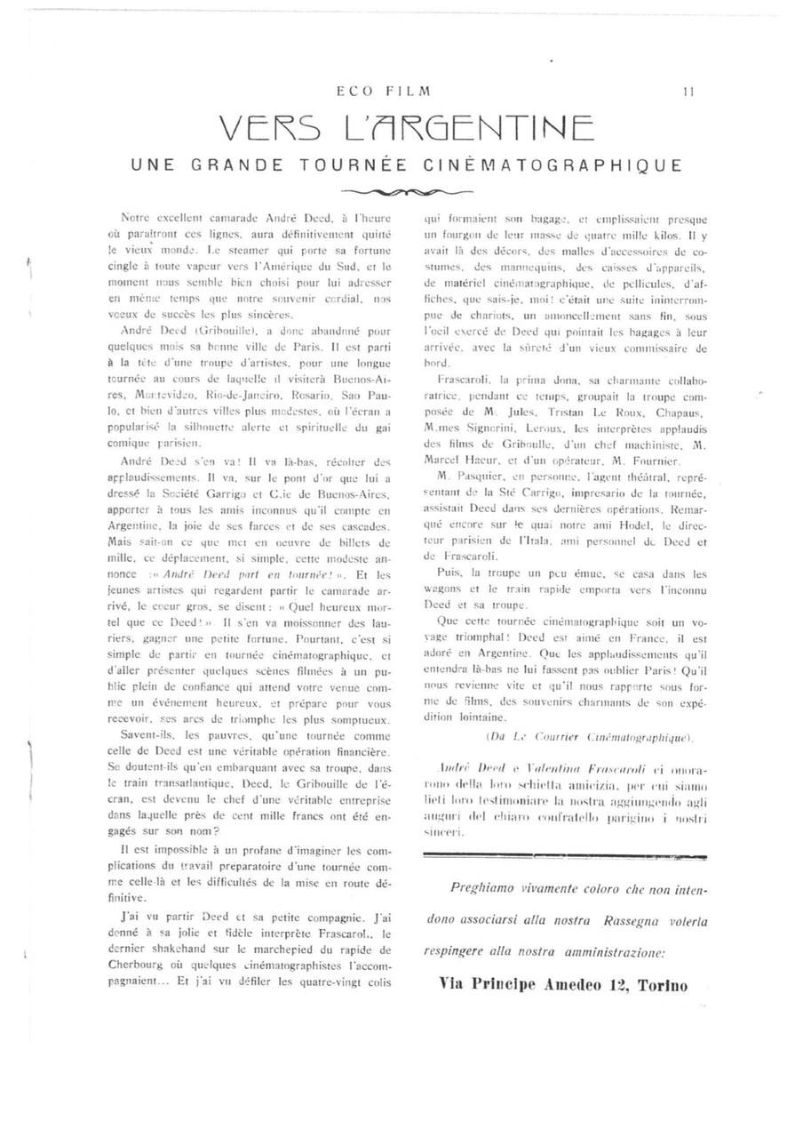 Verso l'Argentina articolo da Eco Film 1913