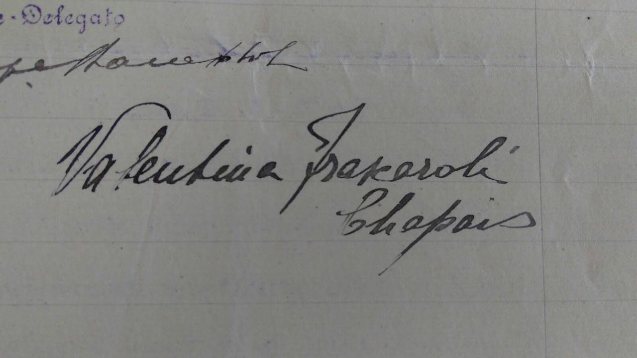 Firma di Valentina Frascaroli nel 1919